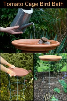 If you're looking for a simple DIY bird bath, this idea has got to be 1 on the list! - If you're looking for a simple DIY bird bath, this idea has got to be on the list! If you're looking for a simple DIY bird bath, this idea has got to be on the list! Diy Garden Projects, Garden Crafts, Outdoor Projects, Garden Art, Garden Design, Garden Ideas, Indoor Garden, Garden Whimsy, Garden Junk