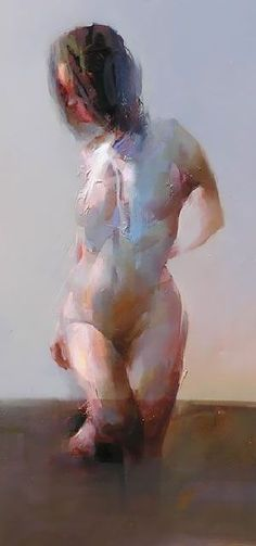 'Figure Study No. 6' - Zin Lim, detail {contemporary #expressionist figurative art nude female human body standing woman torso painting} http://saatchiart.com/Zinlim