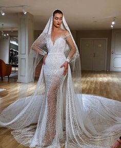Dubai Design Illusion Royal Train Wedding Dresses With Veil Couture New 2019 Mermaid Beaded Pearls Bridal Gowns Vestido De Noiva Wedding Dress With Veil, Amazing Wedding Dress, Wedding Dress Train, Custom Wedding Dress, Sexy Wedding Dresses, Elegant Wedding Dress, Designer Wedding Dresses, Bridal Dresses, Gown Wedding