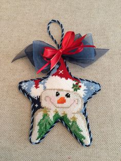 Snowman star ornament ~ canvas by Associated Talents
