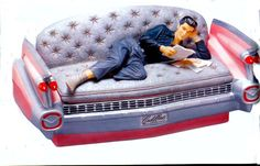 Elvis on Pink Cadillac Couch Cookie Jar