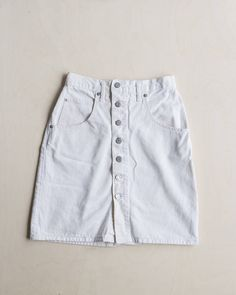 vintage high waist white button up skirt