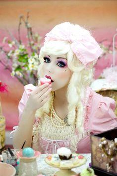 2014 Halloween Marie Antoinette Doll Makeup - pink lace costume #2014 #Halloween