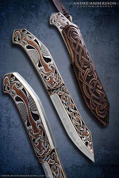 Broken back seax inspired fixed blade | André Andersson Custom Knives