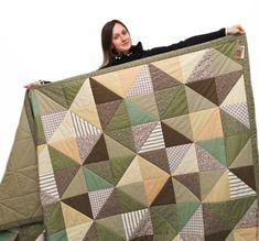 Купить Большое лоскутное одеяло 250х250 см - коричневый, лоскутное одеяло, лоскутное одеяло