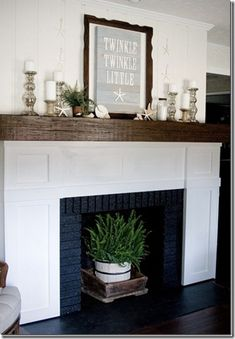How To Cover A Fireplace How To Cover A Fireplace Fireplace Mantle Covers Fireplace Mantel Cap To Cover Outdated Mantel Fireplace Cover Brick Fireplace Ideas Home Fireplace, Fireplace Mantle, Beach House Decor, Brick Fireplace Mantles, Coastal Living Rooms, Fireplace Remodel, Old Fireplace, Fireplace Decor, Fireplace Cover