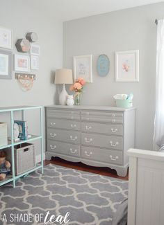 Big Girl Room, The Reveal! Little girls room makeover in grey mint and coral.   A Shade Of Teal