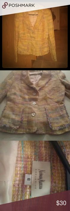 Neiman marcus colorful coat! Excellent condition. NEVER been worn Can dress up or down! Neiman Marcus Jackets & Coats Pea Coats