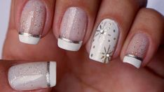 unhas para o reveillon brancas / unhas para o reveillon brancas , unhas para o reveillon brancas simples , unhas brancas para reveillon Cute Nail Art, Beautiful Nail Art, Gorgeous Nails, Cute Nails, Pretty Nails, French Nail Designs, Nail Art Designs, French Nails, Holiday Nails