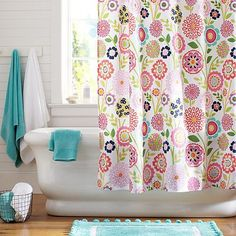 Great Seaside Floral Shower Curtain #potterybarnteen