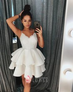 0570ef0675 Ivory lace scalloped V neck spaghetti straps two tier cocktail homecoming  dress Hoco Dresses