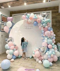 Birthday Decorations Discover Pastel Balloon Garland Arch Pink Aqua Baby Blue - First Birthday Baby Shower Deco Baby Shower, Baby Shower Balloons, Baby Shower Themes, Baby Shower Decorations, Wedding Decorations, Baby Showers, Wedding Favors, Wedding Supplies, Shower Ideas
