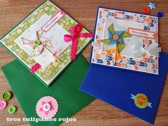 Tres Tulipanes Rojos: Tarjetas de felicitaciones con molinillos de viento
