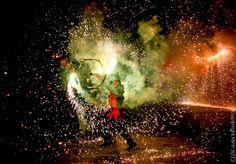 Dimoni showing his fire skills, Pollensa - Sant Antoni, Pollensa, Mallorca