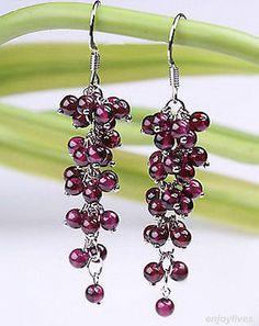 New Fashion Red Garnet Beads Cluster Grape White Gold Plated Hook Earrings Prom Earrings, Garnet Earrings, Square Earrings, Round Earrings, Dangle Earrings, Red Garnet, Fashion Earrings, Earrings Handmade, Earring Set