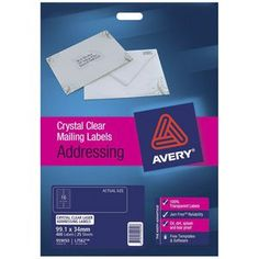Avery Laser Addressing Labels Clear 25 Sheets 16 Per Page