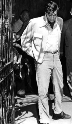 """Elvis Presley on the set of King Creole, 1958/""""Shd be Royal St, not Bourbon St."""", Vash Sant' quote.  Tks so much."""