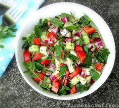 Turmeric and Saffron: Salade Khorfeh - Shirazi Style Purslane Salad Iranian Cuisine, Iranian Food, Healthy Salad Recipes, Vegetarian Recipes, Cooking Recipes, Clean Recipes, Persian Salad, Purslane Recipe, Saffron Recipes