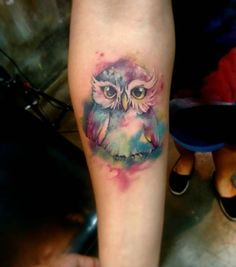 The cutest watercolor owl tattoo ever!