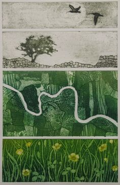 "Hester Cox, Where the Curlew Cries, Collagraph, 11 3/4"" x 18 1/2"""
