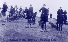 Officers at the Wounded Knee massacre 1890. Buffalo Bill had been brought on the scene earlier to talk to Sitting Bull but Sitting Bull had been murdered before he arrived. I'm not sure whether or not he took part in the Massacre, maybe someone can inform me. I'm pretty sure he didn't.