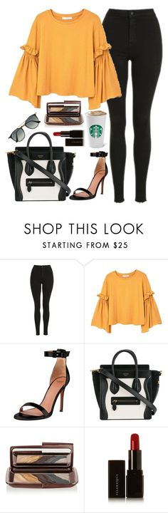 """""""Untitled #1656"""" by mihai-theodora ❤ liked on Polyvore featuring Topshop, MANGO, Givenchy, CÉLINE, Hourglass Cosmetics, Illamasqua and Ray-Ban"""