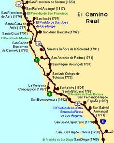 California map of missions on