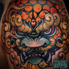 The Guardian Lions: Foo Dog Tattoo Meanings, History, Ideas, & Photos Lion Tattoo, Dog Tattoos, Body Art Tattoos, Hand Tattoos, Tattoo Ink, Japanese Tattoo Art, Japanese Sleeve Tattoos, Japanese Art, Japanese Prints