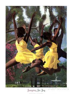 Jumping For Joy, Art Print by Gregory Myrick African American Artwork, African American Culture, African Art, African Dance, African Beauty, American Artists, American History, Black Love Art, Black Girl Art