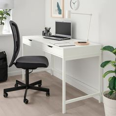 IKEA - ALEX, Desk, white, Built-in cable management for collecting cables and cords; Can be placed in the middle of a room because the back is finished. Bureau Alex Ikea, Ikea Alex Desk, Home Office Design, Home Office Decor, Office Desks For Home, Office Workspace, Office Chairs, White Desk Bedroom, Ikea Bedroom