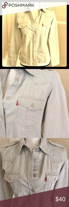 Vintage Levi's Chambray western redtag denim shirt Vintage Levi's Beige/Off white light weight button up denim boyfriend style shirt/ jacket. Women's size M. Double front red tab pocket. Button military flap shoulders. Button cuff sleeve. Looks so good with your high rise destroyed Jeans!!! Levi's Tops Button Down Shirts
