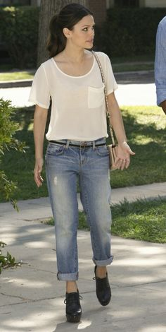 Rachel Bilson wearing Fluxus Burnout Pocket Tee, Valentino Studded Flap-Top Bag and J Brand Aidan Slouchy Boy Jeans.