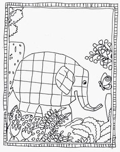 Elmer coloring page Pattern Coloring Pages, Colouring Pages, Color Activities, Activities For Kids, Drawing For Kids, Art For Kids, Jungle Crafts, Elmer The Elephants, Ecole Art