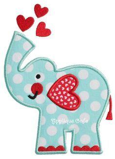 726 Valentine Elephant Machine Embroidery por AppliqueCafeDesigns