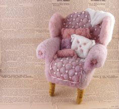 Needle Felted Pink Arm Chair by McBrideHouse