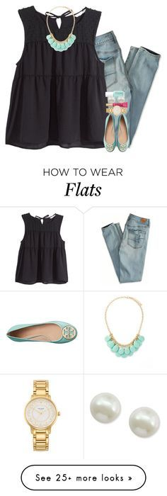 """the cutest Tory Burch flats I've ever seen"" by gourney on Polyvore featuring American Eagle Outfitters, H&M, Forever 21, Tory Burch, Essie, Kate Spade, Majorica, women's clothing, women's fashion and women"