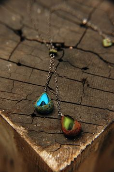 Peacock Blue and Green Necklace Faux Lariat by FlowerleafStudio