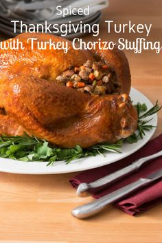 Our Whole Turkey recipe section has all the recipes you need to inspire you to cook up a delicious turkey feast. Why not start with this  Spiced Thanksgiving Turkey With Turkey Chorizo Stuffing? It's perfect for the holidays, too. Find more great whole turkey recipes at https://www.canadianturkey.ca/recipe-category/whole-turkey/.