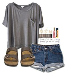 featuring Clu, Burt's Bees, Too Faced Cosmetics, Urban Decay, Charlotte Russe and Birkenstock Birkenstock Outfit, Outfit With Birkenstocks, Birkenstock Fashion, Cute Summer Outfits, Spring Outfits, Trendy Outfits, Summer Shorts, Summer Sandals, Outfit Summer