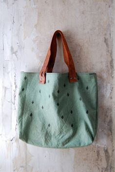 RESERVED FOR YIN vintage canvas tote diamond print, hand dyed, vintage leather strap
