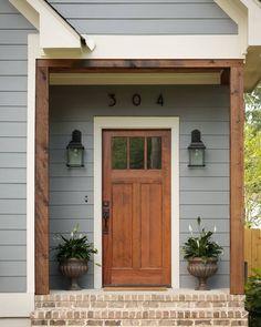 "5,231 Likes, 42 Comments - Home Bunch (@homebunch) on Instagram: ""Front door inspiration: #Door is Fir, Craftsman 3 lite over 2 panel, #brick steps is Old St. Louis…"""