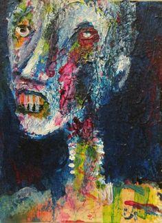 "Post Postmortem #915 zombie   themed art.  jack larson 3.5""x2.5"" art card"