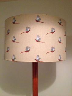 Drum lampshade handmade with Sophie Allport Pheasant fabric