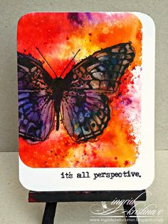 INGRID's CRAFTS CORNER: Butterfly card with brusho & something special...