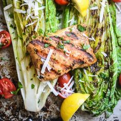 This grilled wild salmon salad is fresh, healthy, and full of flavor. The grilled romaine has a perfectly tender, but not wilted, texture.