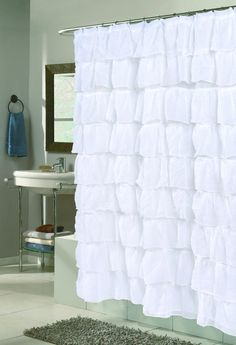 Product: Carmen Ruffled Shower Curtain - White Comforter Bedspreads Sheets Beds