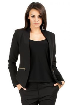 Look at this Black Zipper Open Blazer by MOE Blazers For Women, Women Blazer, Jackett, Blazer Jacket, Work Wear, Boho Chic, Autumn Fashion, Dresses For Work, Zipper