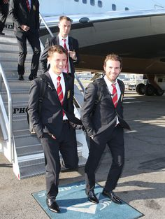 Ander Herrera, Jonny Evans and Juan Mata of @manutd arrive at LAX Airport for the start of #mutour.