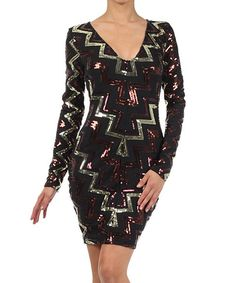 Take a look at this Va Va Voom Gold & Black Sequin Long-Sleeve Dress on zulily today!