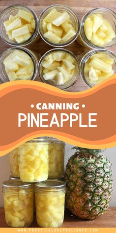 Pineapple is naturally high in both sugar and acid, making it perfect for canning at home.  But why on earth would you can pineapple?  Most of us are not exactly growing it in the backyard, and it's easy enough to buy at the store.  One word…taste.Home canned pineapple tastes amazing, and you'll never want to use watery, flavorless store-bought cans again. Home Canning Recipes, Canning Tips, Jam Recipes, Cooking Recipes, Veggie Recipes, Canning Pineapple, Freezing Pineapple, Canning Food Preservation, Preserving Food